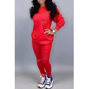 Lovely Casual Hollow-out Red Two-piece Pants Set