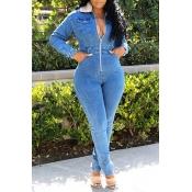 Lovely Trendy Skinny Zipper Design Blue One-piece