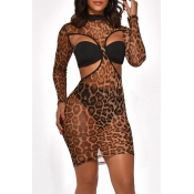 Lovely Sexy See-through Leopard Printed Three-piece Skirt Set