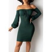 Lovely Sweet Bandage Design Green Mini Dress