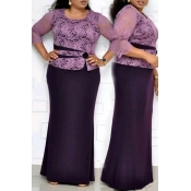 Lovely Casual Patchwork  Purple Floor Length Plus