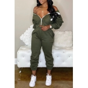 Lovely Casual Zipper Design Army Green Two-piece Pants Set