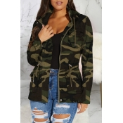 Lovely Casual Camouflage Printed Coat