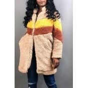 Lovely Winter Patchwork Beige Long Coat
