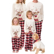 Lovely Family Christmas Deer Printed Creamy White