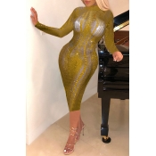 Lovely Party Skinny Gold Knee Length Dress