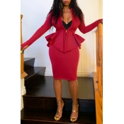 Lovely Work V Neck Flounce Design Red Two-piece Skirt Set(Without Belt)
