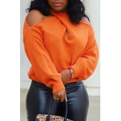 Lovely Casual Cross-over Design Orange Sweater