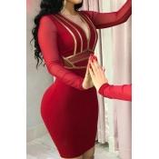 Lovely Party V Neck Patchwork Red Knee Length Dres
