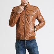 Lovely Casual Mandarin Collar Zipper Design Brown