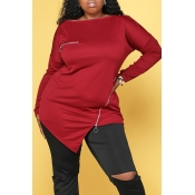 Lovely Casual Zipper Design Wine Red Plus Size Hoo