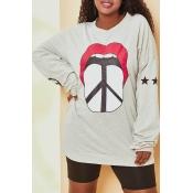 Lovely Casual O Neck Printed Grey Sweatshirt Hoodi
