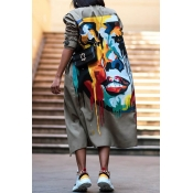 Lovely Casual Printed Khaki Plus Size Long Coat