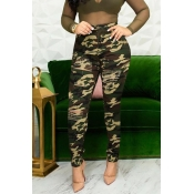 Lovely Casual Camouflage Printed Grass Green Jeans