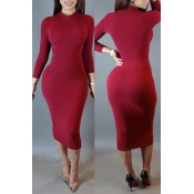 Lovely Leisure Skinny Purplish Red Knee Length Dre