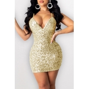 Lovely Party Spaghetti Straps Sleeveless Gold Mini