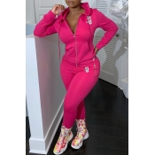 Lovely Casual Hooded Collar Zipper Design Rose Red Two-piece Pants Set