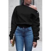 Lovely Trendy Long Sleeves Black Sweatshirt Hoodie