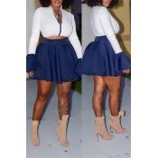 Lovely Casual Zipper Design Blue Two-piece Skirt Set