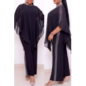 Lovely Casual Cloak Design Black Plus Size Two-pie