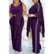 Lovely Casual Cloak Design Purple Plus Size Two-pi