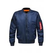 Lovely Casual Zipper Design Deep Blue Cotton-padded Clothe