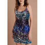 Lovely Sexy Sequined Decorative Multicolor Mini Dr