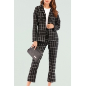 Lovely Casual Grids Printed Black And White Two-pi