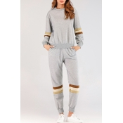 Lovely Casual Striped Grey Two-piece Pants Set