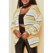 Lovely Casual Striped Yellow Cardigan