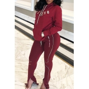 Lovely Casual Letter Zipper Design Wine Red Two-pi