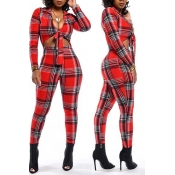 Lovely Casual Plaid Printed Black And Red One-piec