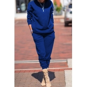 Lovely Leisure Basic Blue Two-piece Pants Set