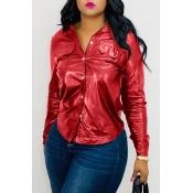 Lovely Trendy Turndown Collar Buttons Design Red Shirt