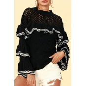 Lovely Euramerican Flounce Design Black Sweaters