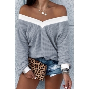 Lovely Trendy V Neck Striped Grey Sweatshirt Hoodi