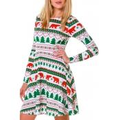 Lovely Christmas Day Printed White Knee Length Dre