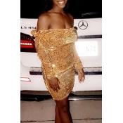Lovely Sweet Dew Shoulder Gold Mini Dress