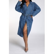 Lovely Trendy Buttons Design Loose Blue Coat