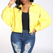 Lovely Trendy Buttons Design Yellow Coat