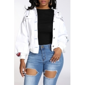 Lovely Trendy Buttons Design White Jacket