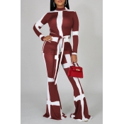 Lovely Casual Patchwork Wine Red Two-piece Pants Set