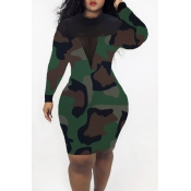 Lovely Casual See-through Camouflage Printed Knee