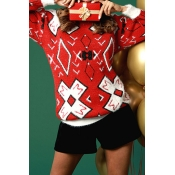 Lovely Sweet Long Sleeves Printed Red Mohair Sweat