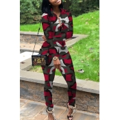 Lovely Casual Turndown Collar Printed Red Two-piece Pants Set