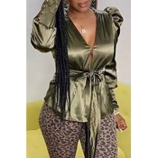 Lovely Trendy V Neck Lace-up Green Blouse
