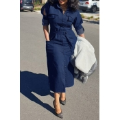 Lovely Casual Turndown Collar Buttons Design Blue