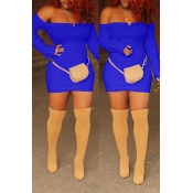 Lovely Casual Off The Shoulder Skinny Royal Blue Mini Dress