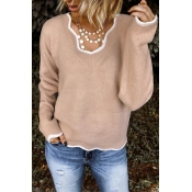 Lovely Flounce Design Khaki Sweater
