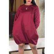 Lovely Trendy O Neck Loose Wine Red Knee Length Dr